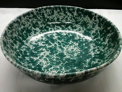"Bennington Potters Agate Spongeware Green Large14"" Bowl#2181 Retired Vermont Usa"