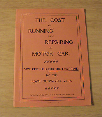 "1907 Rolls-Royce~""The COST of RUNNING and REPAIRING a MOTOR CAR""~1967 REPRINT~"