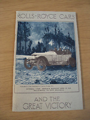 "VTG circa 1920's Booklet~""ROLLS-ROYCE CARS and the Great VICTORY""~1975 REPRINT~"