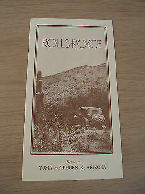 "VTG 1923 Brochure~""ROLLS-ROYCE"" Touring Between YUMA/PHOENIX AZ~1977 REPRINT~"