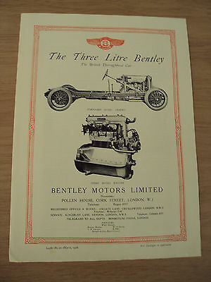 "1928 Leaflet/Brochure~""The THREE LITRE BENTLEY""~Great Content~1971 REPRINT~"