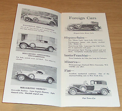 "1935 SALES Brochure~""ROLLS-ROYCE"" Automobiles~NYC~British~1970 REPRINT~"