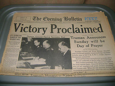 May 8,1945 Philadelphia Evening Bulletin newspaper Victory in Europe