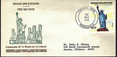 Congo First Day Cover 1986 Centennial Of The Statue Of Liberty