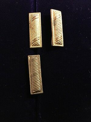 RARE WWI CORRUGATED  LIEUTENANTS BARS RANK INSIGNIA 1st LT Gold Color