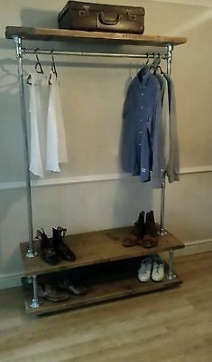 Vintage industrial clothes rail with storage shelves