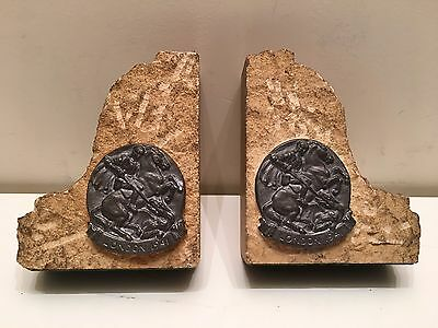 vintage stone bookends from WW2 blitz bombed Houses of Parliament London 1941