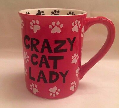 Cat Red Coffee Cup Mug Crazy Cat Lady I Decorate With Cats by Lorrie Veasey