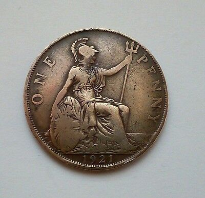 ONE PENNY Coin - George V, 1921, Bronze