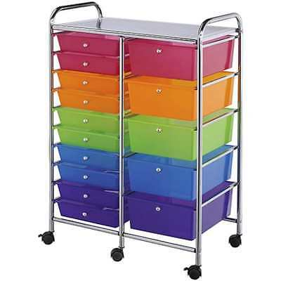 "Blue Hills Studio Double Storage Cart with 15 Drawers, 25.5""x38""x15.5"" BRAND NEW"