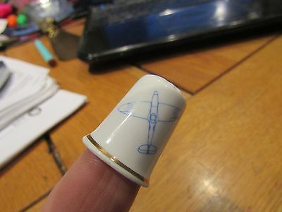 China Thimble Blue & White with Gilding - The Spitfire Society SOUTHAMPTON