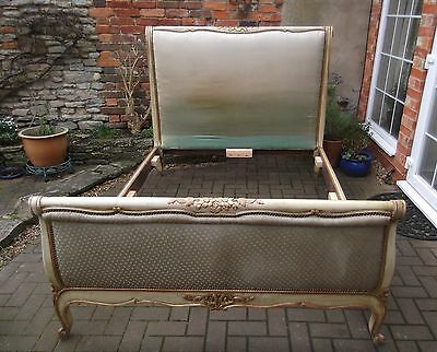 Antique Chateau Chic French Louis Double Bed~Upholstered~New Supports & Bases