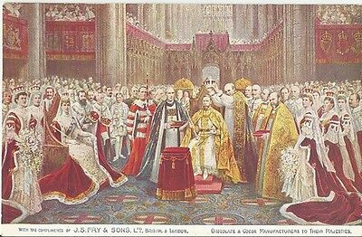 Postcard - Fry's Chocolates  - PC shows the Coronation of King George V 1911