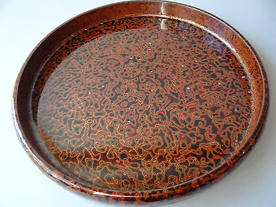 "Vintage Handcraft Tsugaru-nuri Lacquered Wood serving Tray ""OBON"", Tea Ceremony"