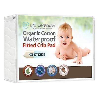 Organic Cotton Waterproof Fitted Crib Pad - Natural Baby Crib Mattress Cover ...