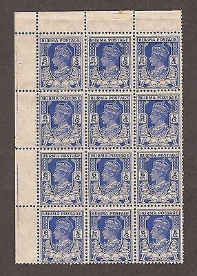 1938 To 1940 Burma Stamps 6P Bright Blue Block Of 12  Mnh