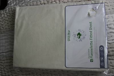 The little green sheep flanelette fitted sheet - 70cm x 140cm Brand New
