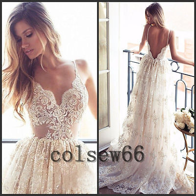 White/ivory Lace A Line Wedding Dress Beach Bohemian Bridal Gown Custom Size2-20