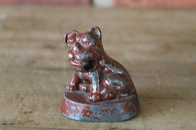 Vintage Metal Bulldog holds Pencil in Mouth - Pencil Sharpener in base