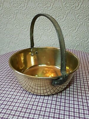 Antique Solid Brass  Jam / Preserve Pan Small Iron Handle