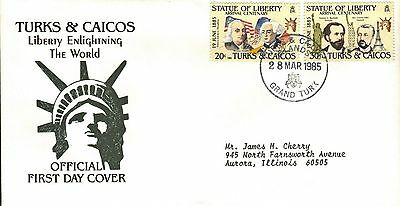 Turks & Caicos First Day Cover 1986 Centennial Of The Statue Of Liberty
