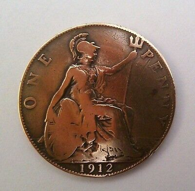 ONE PENNY Coin - King George V, 1912, Bronze