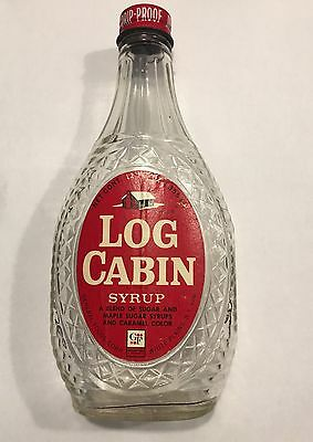 Vintage Log Cabin Syrup Bottle With Cap! White Plains, NY