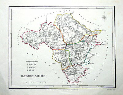 WALES, RADNORSHIRE, Original Antique Map. c1840