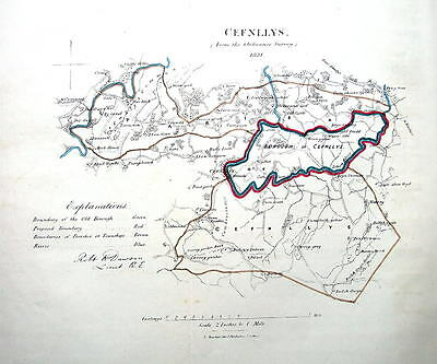 CEFNLLYS, POWYS,  WALES Dawson Hand Coloured Antique Map 1832