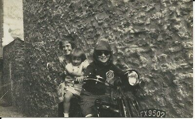 RP Postcard of children with mother on old motorbike. Bournemouth registration.