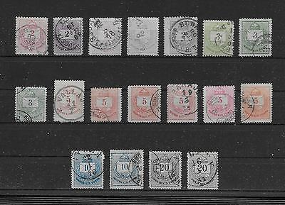 Hungary - 1874 Crown of St. Stephen - Complete Set with shades & perf variations