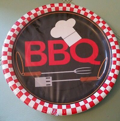 BBQ Party Paper Plates  pack of 8. Large plates 8 5/8 inches