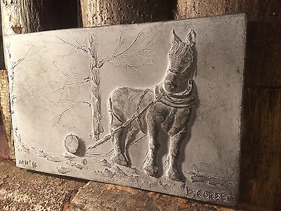 Shire horse wall sculpture, horse ornament, farm animal picture, farmhouse art