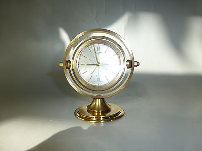 Vintage Swiss Mechanical Wind Up Alarm 8 Day Clock Luxury Brass (Watch Video)