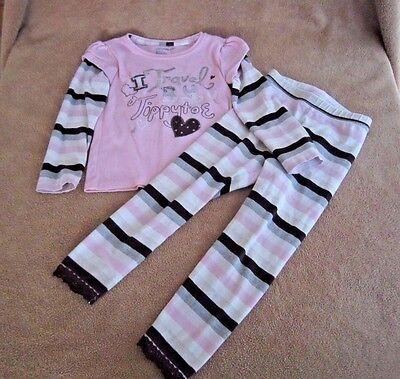 Baby Girls Baby Gap Hearts & Stripes Long Sleeve/Pant 2 Piece Outfit Size 3T