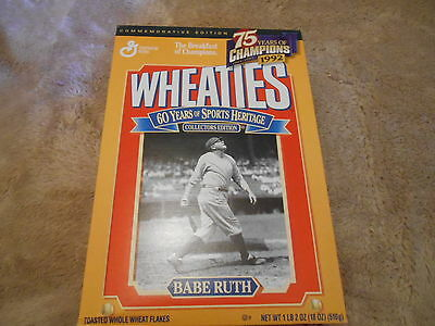 """Vintage Unopened  """"60 Years Of Sports Heritage"""" Wheatie Box With Babe Ruth"""