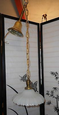 REWIRED Shabby Chic Art Deco Industrial Ceiling FIxture Fluted Milk Glass Shade
