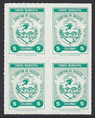 COSTA RICA WITCHES! OLD MUNICIPAL TAX STAMPS of ESCAZU 5 COLONES BLOCK of 4 MINT