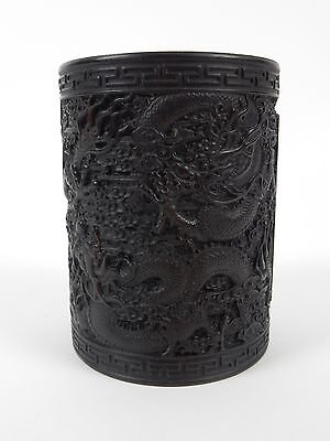 Chinese Intricately Carved Dragon Brush Pot. Artist signed. 6 inches