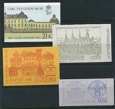 Sweden #1600a//1622a (SW333) (4) Comp Booklets, See List, MNH, VF, CV$63.50