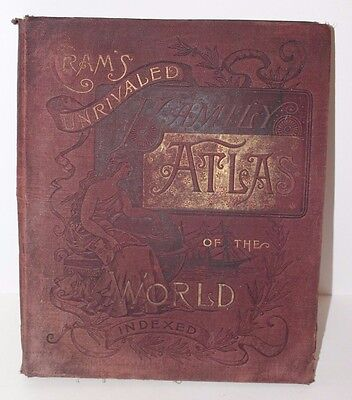 Antique 1888 Cram's Unrivaled Family Atlas of the World/ Indexed