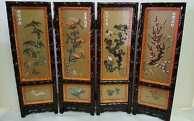 Asian Lacquer Table Top Screen Hand Carved Stones Jade Coral TigerEye Lapis
