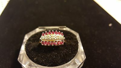 Vintage GTR 14k Yellow Gold Red Sapphire & Diamond Cluster Ring Size 8.5