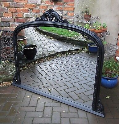 Enormous Antique Style Black Overmantel Or Wall Mirror~Curved Top~Elegant Detail
