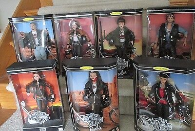 HARLEY DAVIDSON BARBIES - Lot of 7 - NRFB - Collector Edition