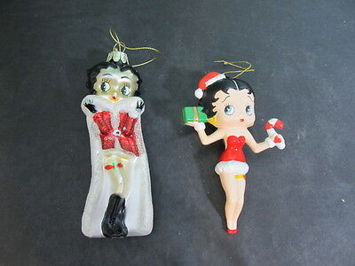 Set of 2  BETTY BOOP Christmas Hanging Ornaments  Red