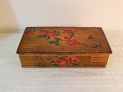 Original Vintage / Retro Gold & Flower Chocolate / Biscuit Tin - Collectable