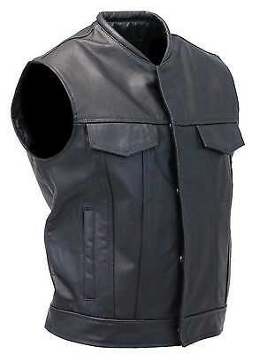 Mens Sons of Anarchy Genuine real Leather Waistcoat Motorcycle Biker Vest S-5XL
