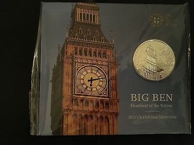 2015 UK £100 Big Ben London Silver Coin - Limited Edition Royal Mint Brand New