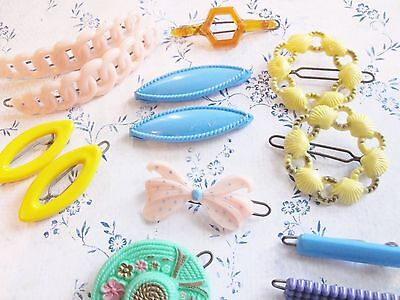 lot of 15 Plastic VINTAGE novelty 1950's 60's Girls hair Barrettes